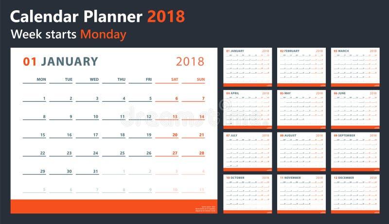 O calendário 2018 começa segunda-feira, projeto do calendário do vetor 2018 anos ilustração do vetor