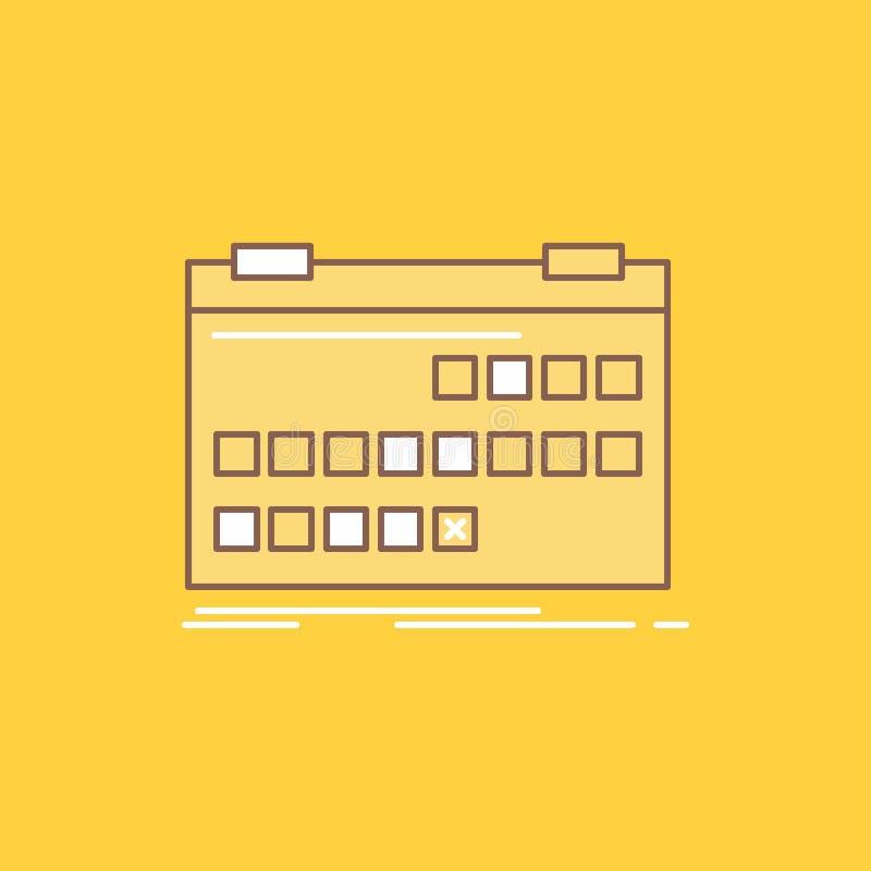 O calendário, data, evento, liberação, linha lisa da programação encheu o ícone Bot?o bonito do logotipo sobre o fundo amarelo pa ilustração do vetor