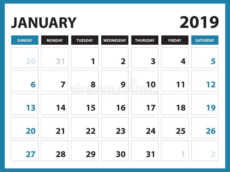 O calendário de mesa para o molde do janeiro de 2019, calendário imprimível, molde do projeto do planejador, semana começa em dom ilustração royalty free