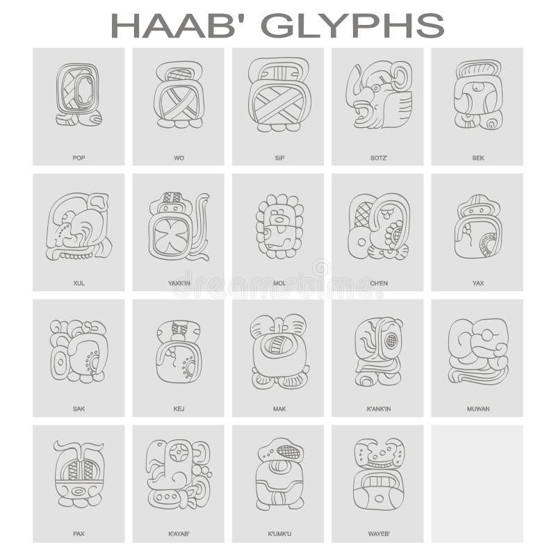 O calendário do Maya de Haab nomeou meses e glyphs associados ilustração stock