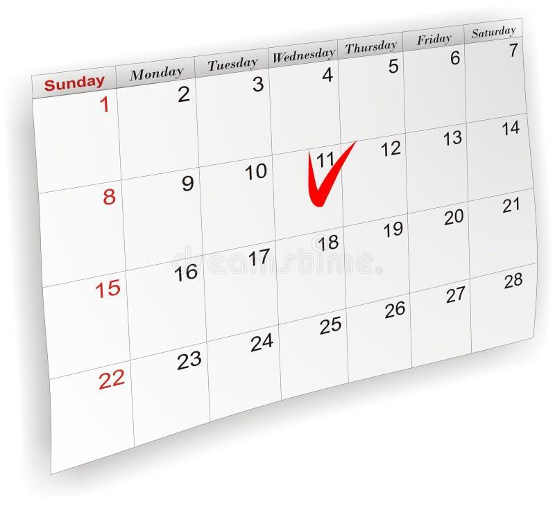 O calendário etiquetou ilustração do vetor