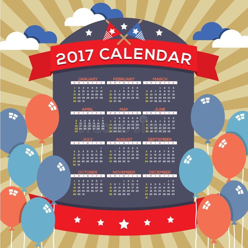 O calendário imprimível do sumário 2017 moderno começa domingo que comemora o 4o do conceito do Dia da Independência do Estados U ilustração royalty free