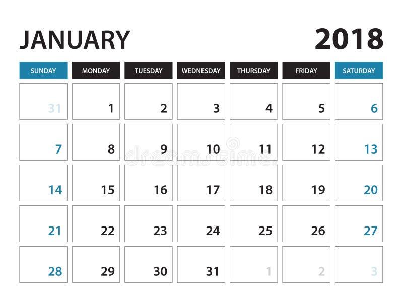 O calendário imprimível para janeiro de 2018, semana começa em domingo ilustração stock