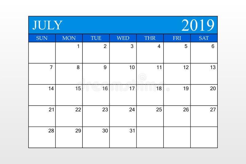 2019 o calendário, julho, tema azul, planejador da programação, organizador, semanas parte de domingo ilustração stock