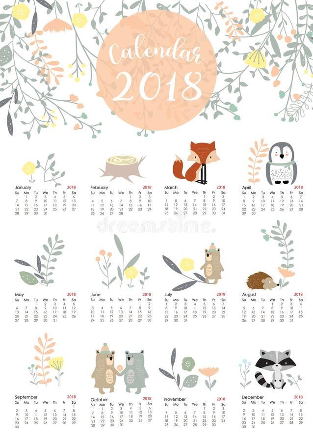 O calendário mensal bonito colorido 2018 com selvagem, fox, carrega, jaritataca, pasto fotos de stock royalty free