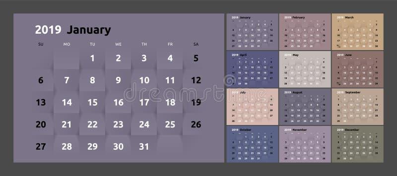 O calendário pelos 2019 anos novos imprimíveis papel 3d