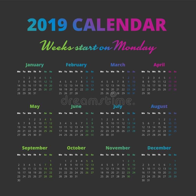 O calendário simples de 2019 anos, semanas começa em segunda-feira ilustração stock