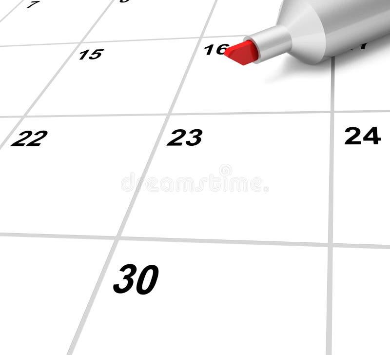 O calendário vazio mostra a programação ou o evento de nomeação do plano ilustração stock