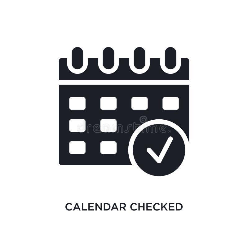 o calendário verificou o ícone isolado ilustração simples do elemento dos ícones finais do conceito dos glyphicons o calendário v ilustração stock