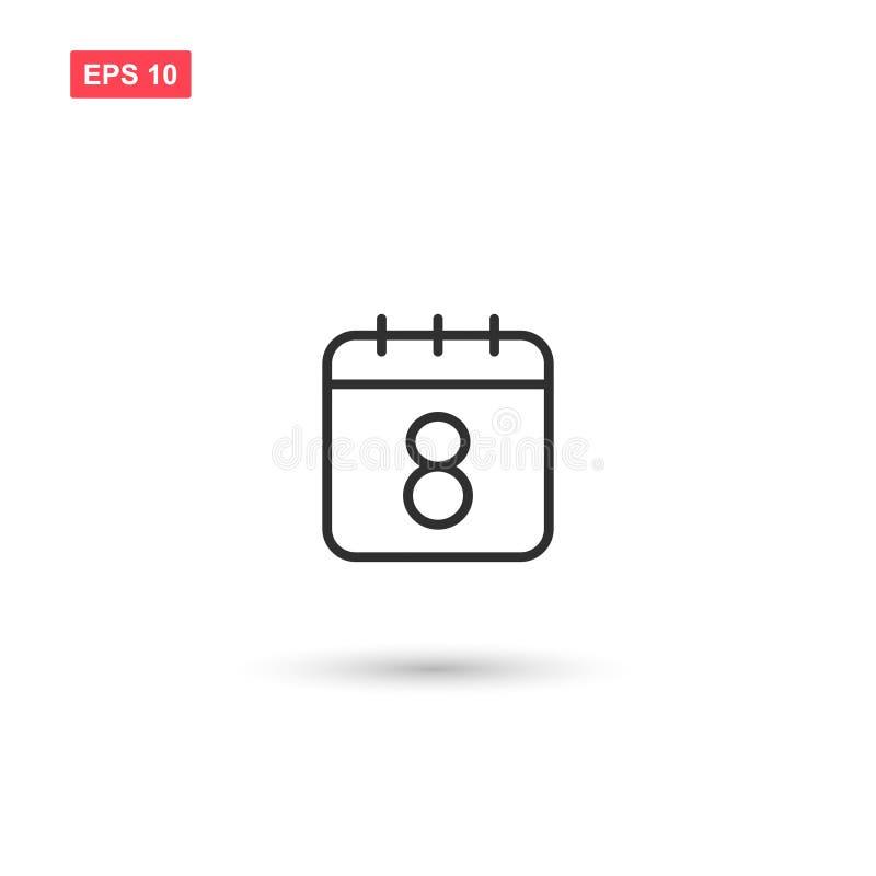 O calendário vetor do ícone da data do 8 de março isolou 2 ilustração royalty free