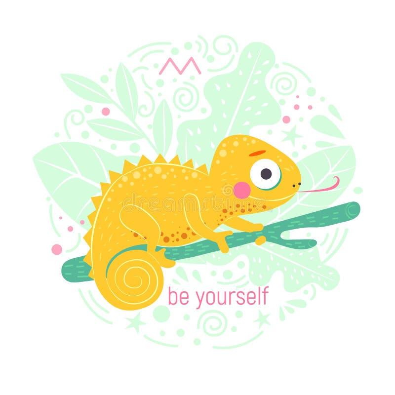 O camaleão amarelo bonito que senta-se no ramo verde e com palavra seja você mesmo com luz - folhas do verde no fundo ilustração do vetor