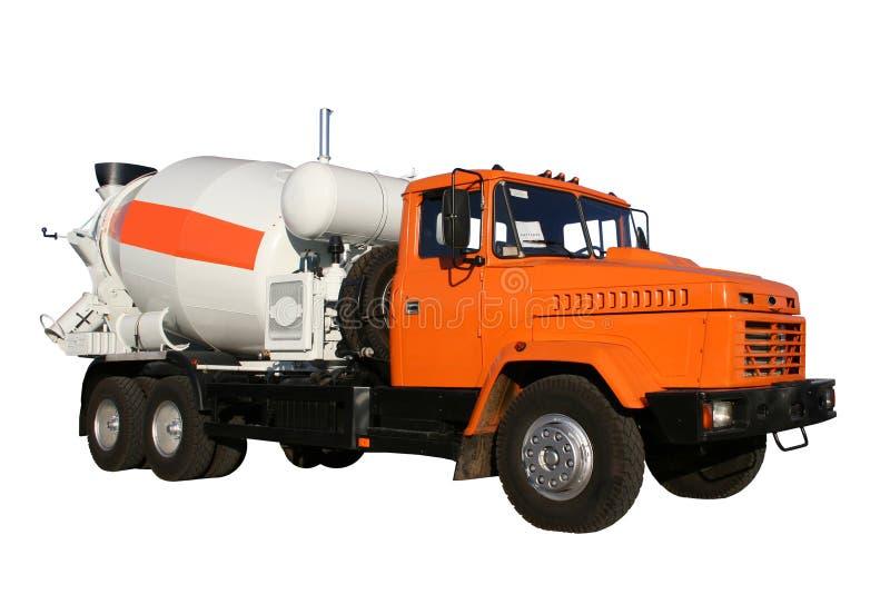 O camião novo do edifício da cor vermelha com um misturador concreto foto de stock