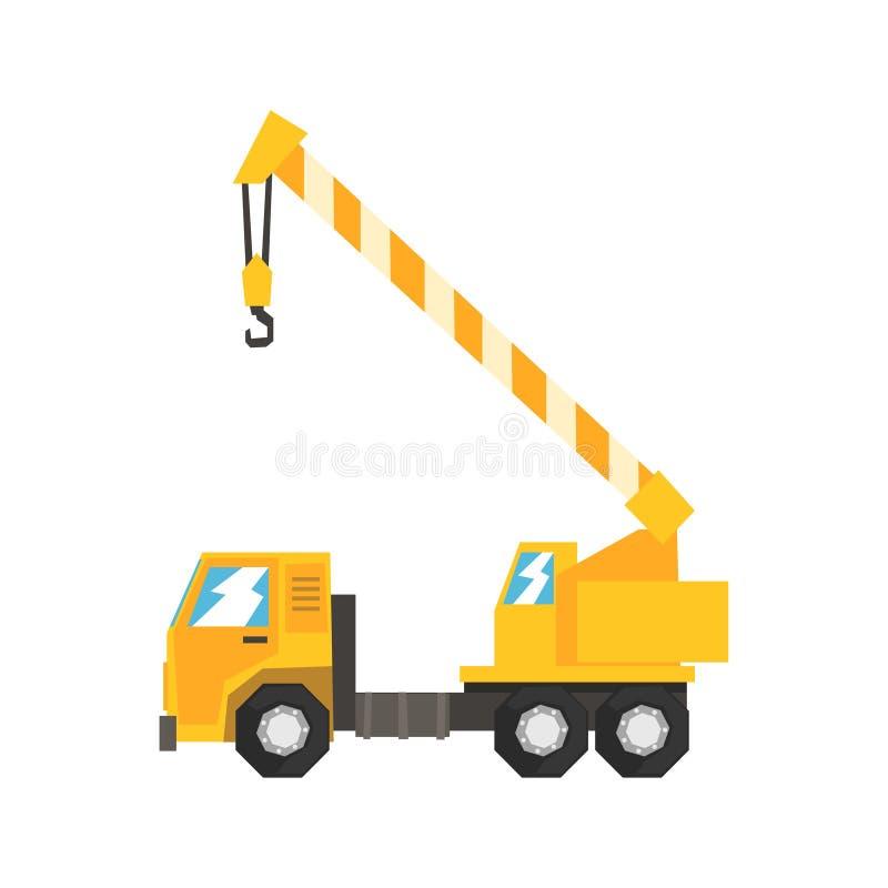 O caminhão amarelo montou a carretagem hidráulica do guindaste, ilustração pesada do vetor da maquinaria industrial ilustração do vetor