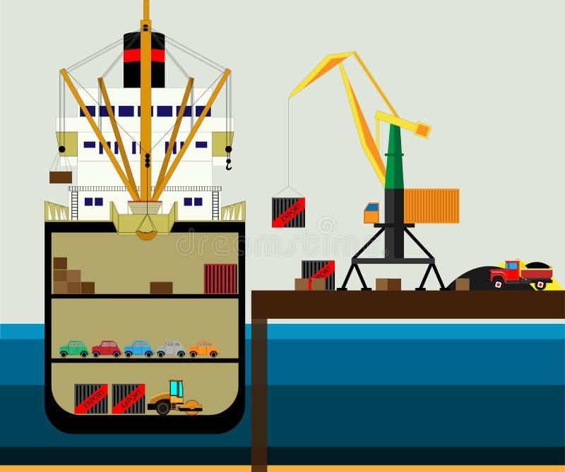 O caminhão da logística da carga e o navio de recipiente do transporte com exportação de trabalho da importação do guindaste tran ilustração royalty free