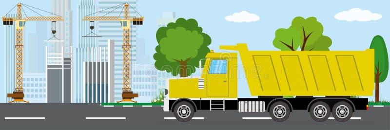 O caminhão de caminhão basculante está indo ao canteiro de obras ilustração do vetor