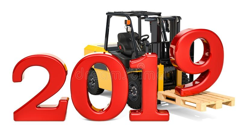 O caminhão de empilhadeira com 2019, o ano novo e o Natal entregam o conceito ilustração do vetor