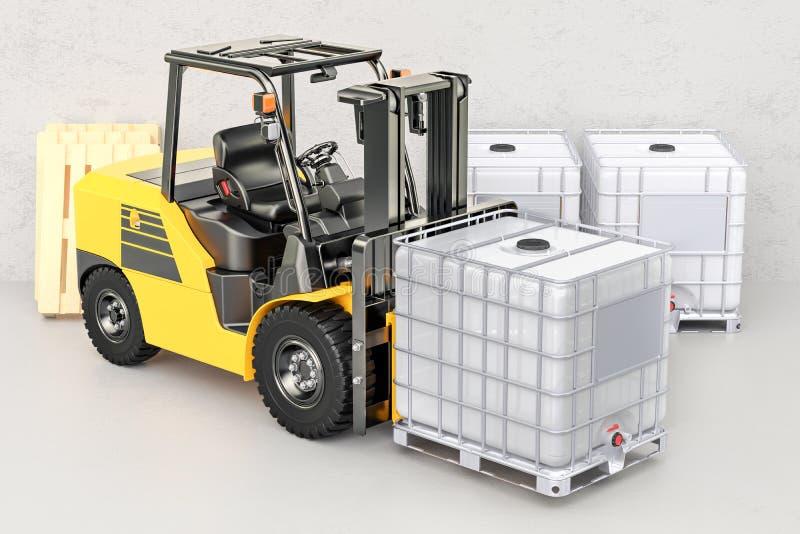 O caminhão de empilhadeira com o recipiente de maioria intermediário branco, 3D rende ilustração royalty free