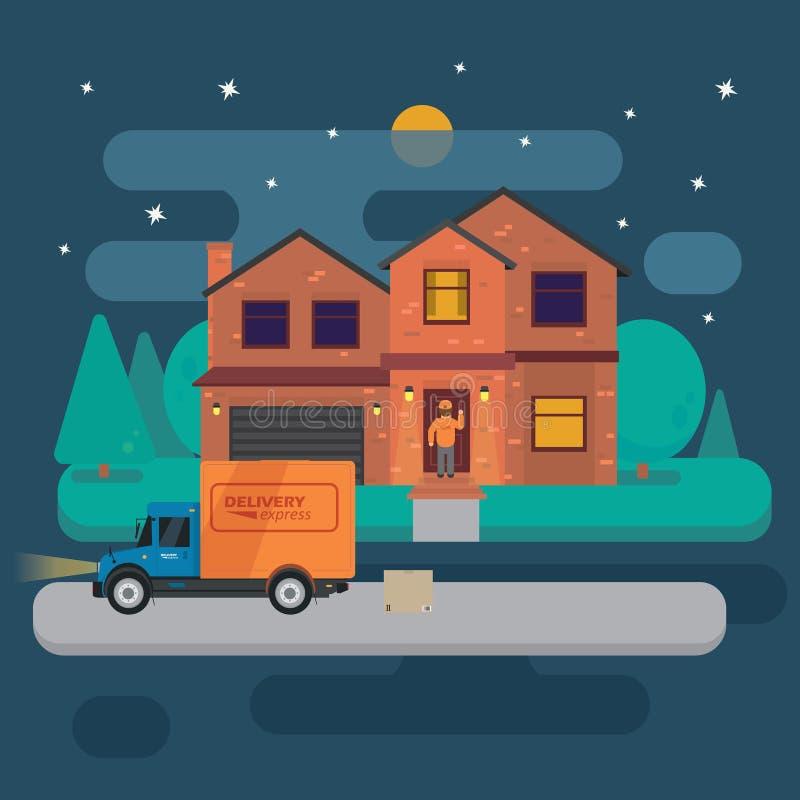O caminhão de entrega com caixas de cartão aproxima a casa no fundo da casa da noite de verão Bandeira rápida da entrega, vetor ilustração stock