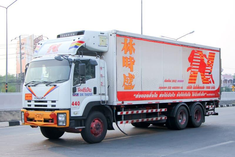 O caminhão refrigerado do recipiente de Nim vê Seng fotografia de stock