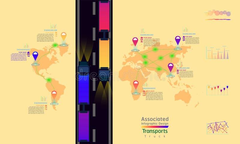 O caminhão transporta o projeto infographic do ponto associado da marca do mapa do mundo da fábrica da empresa com gráfico sum ilustração royalty free