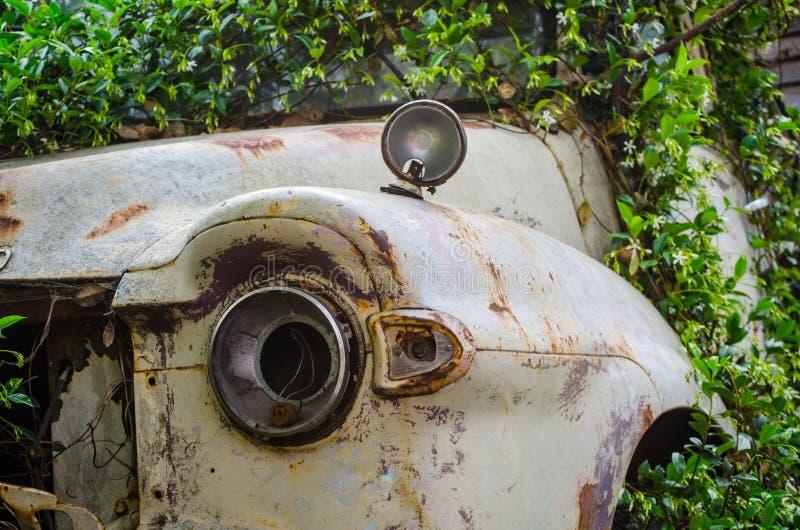 O caminhão velho oxidado cobre acima com as plantas verdes imagens de stock royalty free