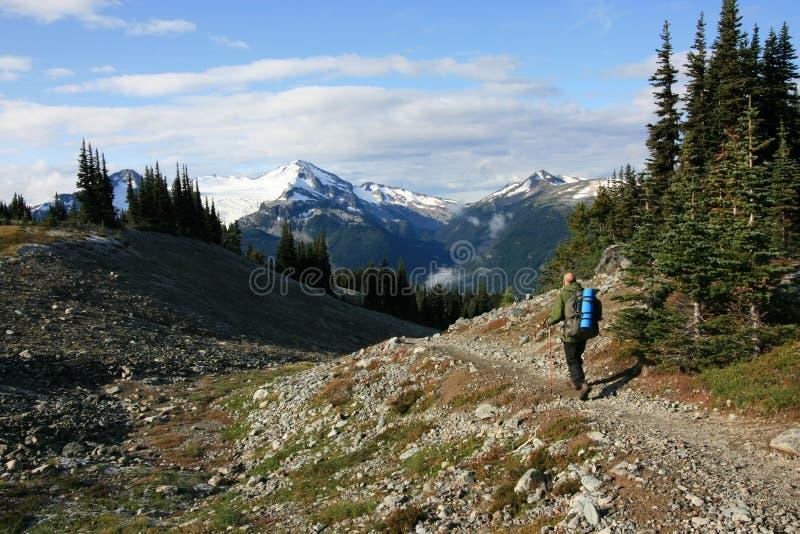 O caminhante no Musical colide a rota alpina fotos de stock royalty free