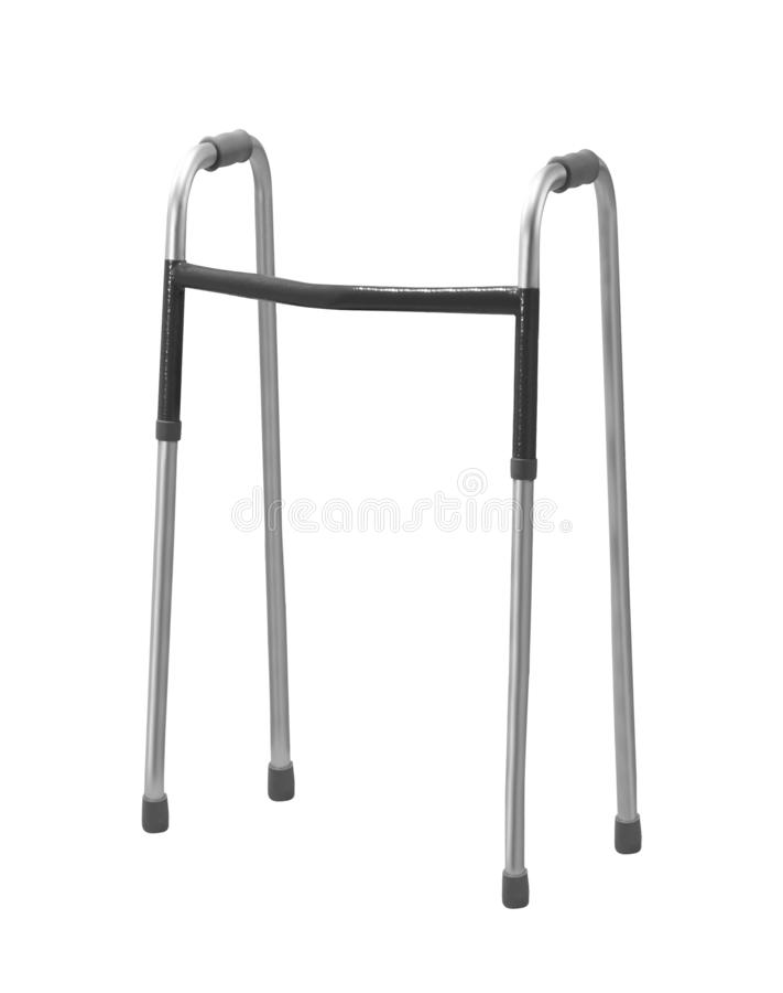 O caminhante para pessoas idosas, desabilitou ou feriu isolado no branco imagem de stock