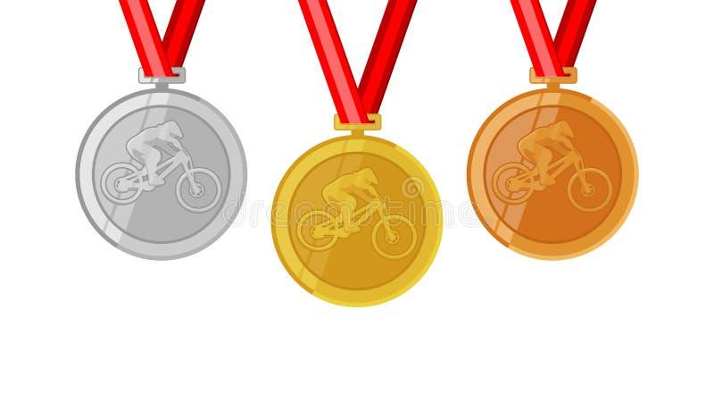 O campeão de ciclagem do estilo livre do salto da sujeira completo shinny medalhas para ajustar o siver e o bronze do ouro no est ilustração do vetor