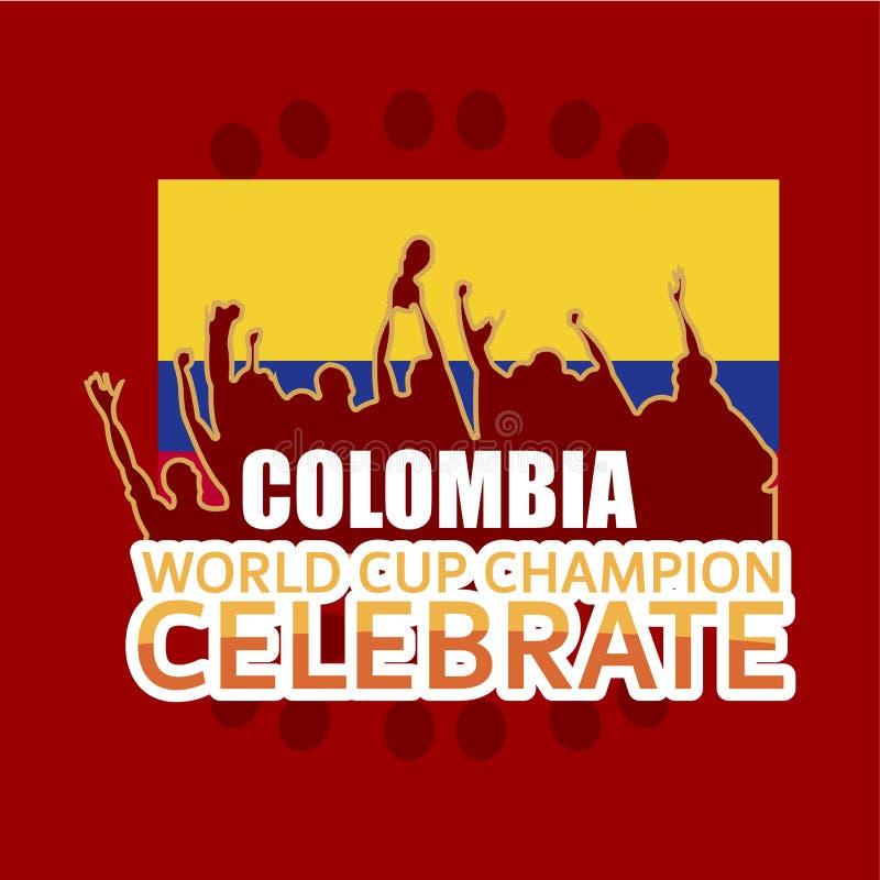 O campeão do campeonato do mundo de Colômbia comemora a ilustração do projeto do molde do vetor ilustração royalty free