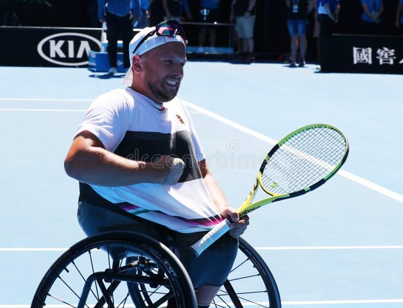 O campeão Dylan Alcott de Grand Slam de Austrália comemora a vitória após seus 2019 que a cadeira de rodas aberta australiana do  fotos de stock royalty free