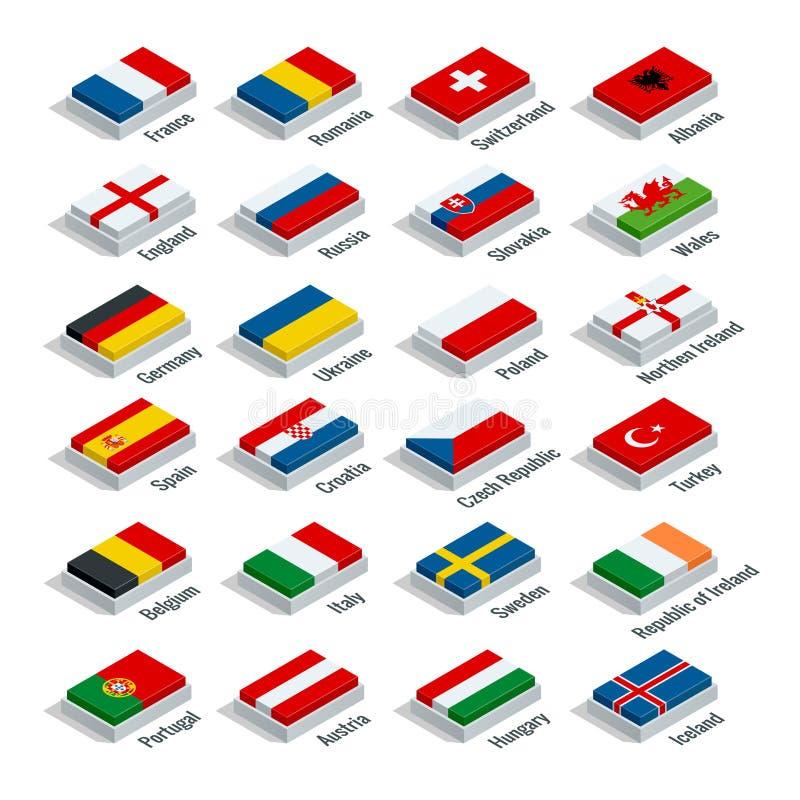 O campeonato europeu 2016 do futebol em França agrupa o vetor Ilustração 3d isométrica lisa ilustração stock