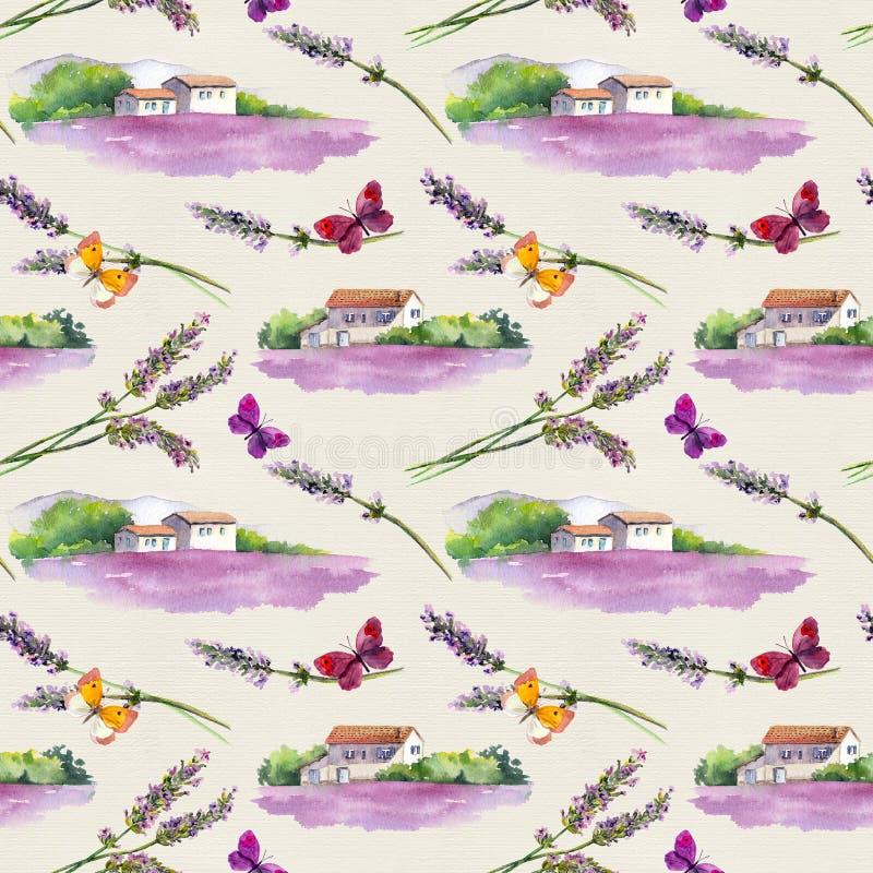 O campo da alfazema, alfazema floresce, borboletas com as casas provencal rurais da exploração agrícola em Provence, França water ilustração stock