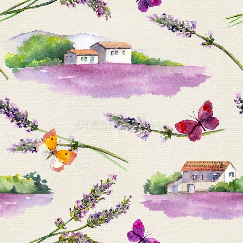 O campo da alfazema, alfazema floresce, borboletas com a casa da quinta francesa em Provence watercolor ilustração royalty free