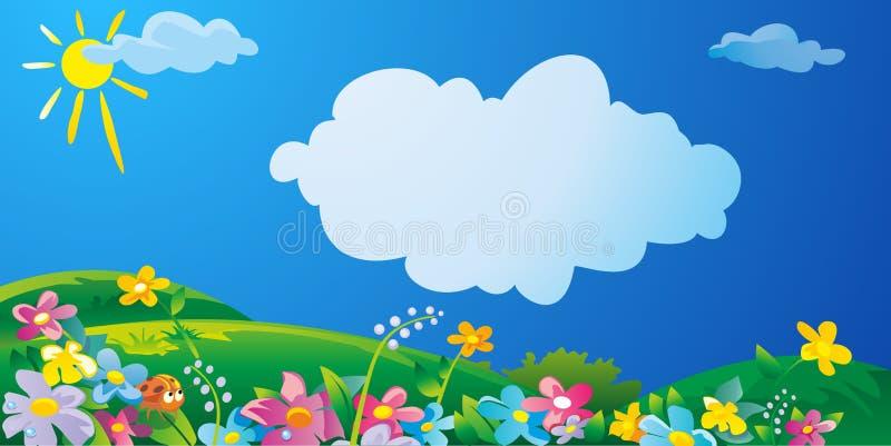 O campo da natureza com grama verde, as flores no prado e as gotas da água orvalham nas folhas verdes Paisagem ensolarada do verã ilustração do vetor