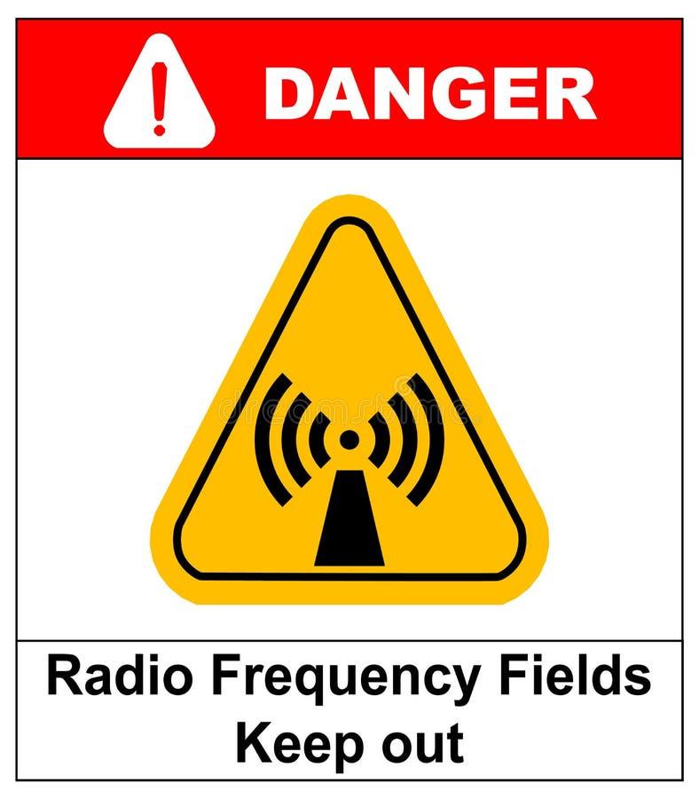 O campo da radiofrequência da bandeira do perigo no triângulo amarelo mantém-se para fora ilustração do vetor