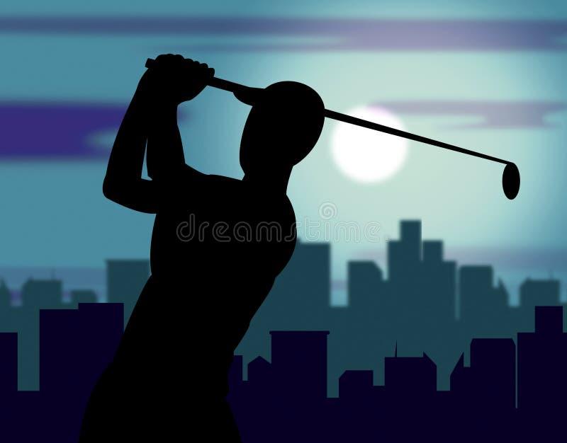 O campo de golfe significa o exercício e Golfing do jogador de golfe ilustração royalty free