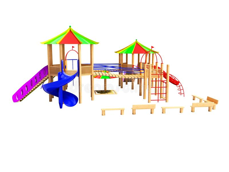 O campo de jogos de madeira moderno para crianças com escadas de suspensão e as corrediças 3d não rendem em um fundo branco nenhu ilustração do vetor
