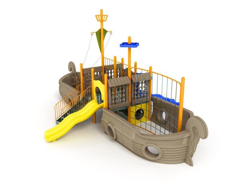 O campo de jogos para crianças envia a luz - marrom empalideça - o amarelo amarelo 3d r ilustração stock