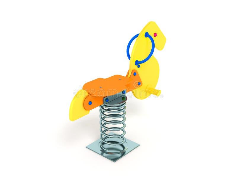 O campo de jogos para a laranja alaranjada 3d do amarelo do cavalo da mola das crianças ren ilustração royalty free