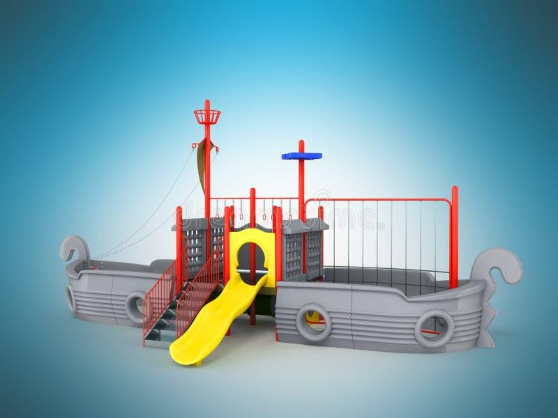 O campo de jogos para o navio 3d cinzento das crianças rende em um fundo azul ilustração royalty free