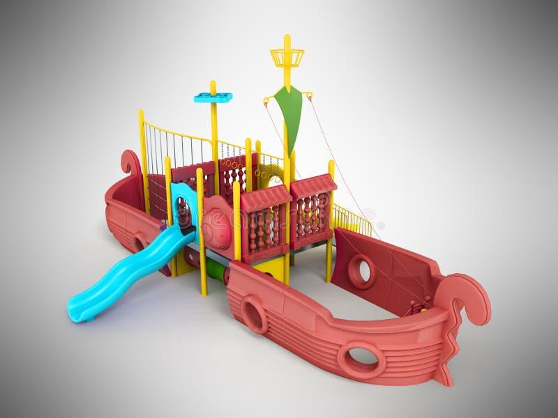 O campo de jogos para o navio 3d vermelho das crianças rende em um fundo cinzento ilustração stock