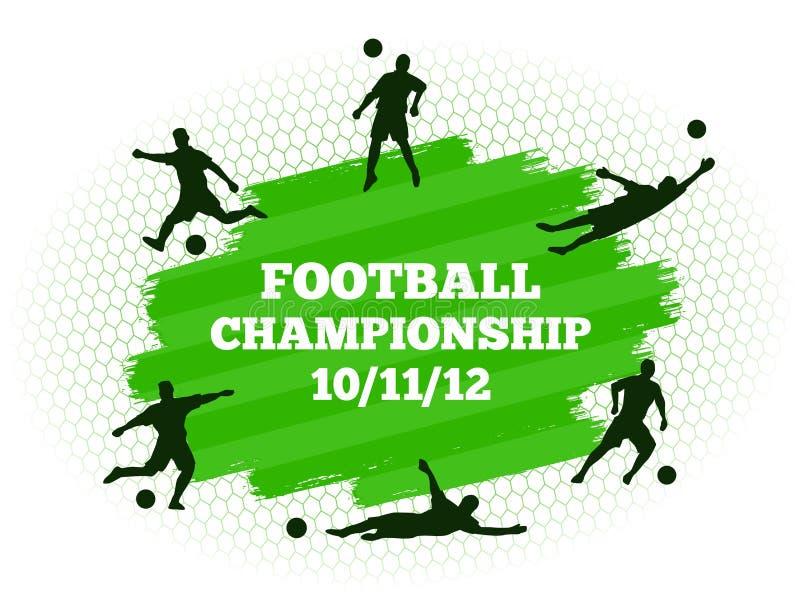 O campo do estádio de futebol do futebol com silhuetas do jogador ajustou-se no fundo liso da grama verde ilustração stock