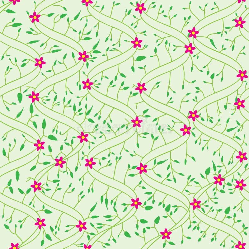 O campo do estilo da curvatura floresce o teste padrão sem emenda das folhas ilustração stock