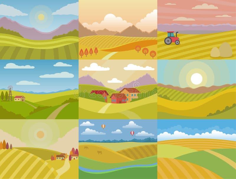 O campo do prado do vetor da paisagem que ajardina o campo da natureza com o país da luz solar do horizonte ajardinou o grupo da  ilustração royalty free