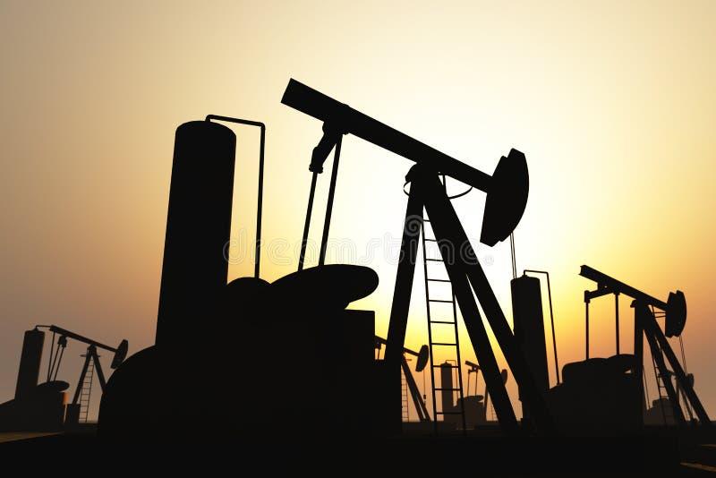 O campo petrolífero bombeia silhuetas no por do sol 3D ilustração royalty free