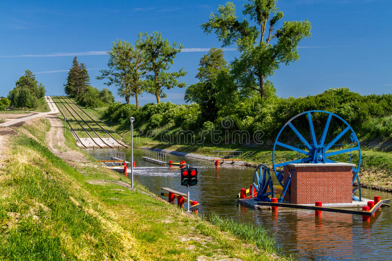 O canal de Elblag, monumento histórico da hidro-engenharia, Polônia imagem de stock