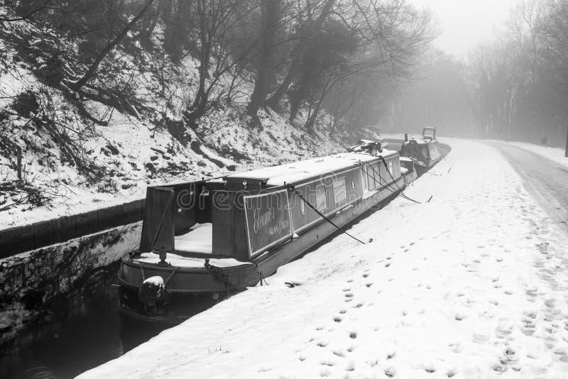 O canal de Llangollen no inverno fotografia de stock