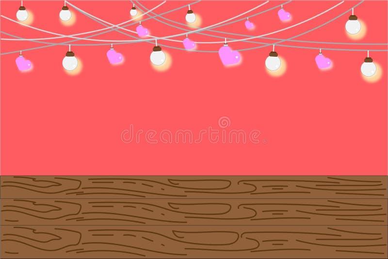 O candelabro decorou brilhantemente e o coração do rosa em um fundo doce, esvazia abaixo com espaço da cópia para o texto ilustração do vetor