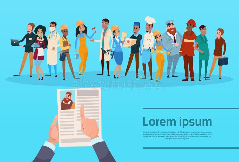 O candidato Job Position do recrutamento do curriculum vitae, perfil do CV da posse das mãos escolhe a ocupação diferente do grup ilustração do vetor