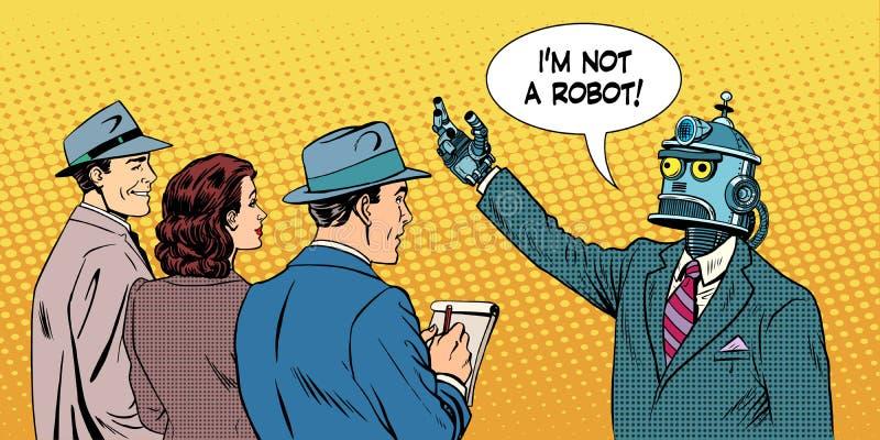 O candidato presidencial do robô dá a entrevista ilustração stock